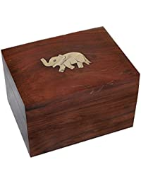 DakshCraft ® Holz Rectangle Schmuckschatullen Messingeinlege Elefant-Entwurf