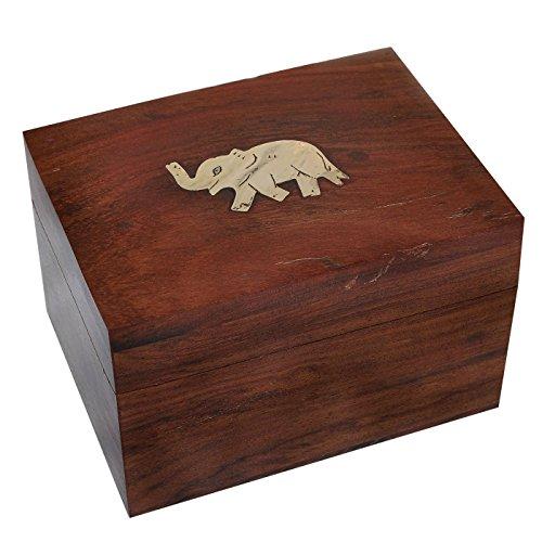 Schrank Schmuck Box Truhe (DakshCraft ® Holz Rectangle Schmuckschatullen Messingeinlege Elefant-Entwurf)