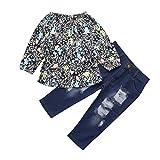 Jimmackey Neonata Bambine Camicia Stampato T-Shirt Cime Floreali + Buco Denim Pantaloni Abiti Set (Multicolore, 4 anni)