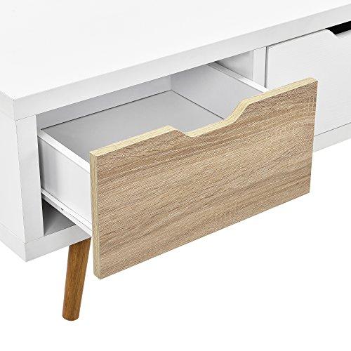 51dAvNeS4RL - [en.casa]®] Mesa de TV-/ Lowboard/Mueble de televisión con 3 cajones (120x39x39cm) - Blanco