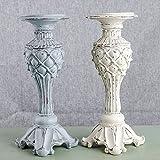 Upper-Candelabro in resina American goffrato candelabro antichi,blu beige