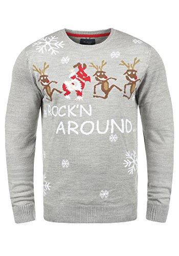 Blend Rudolph Herren Strickpullover Weihnachtspullover Mit Rundhalsausschnitt, Größe:3XL, Farbe:Stone Mix/Dance (75149)