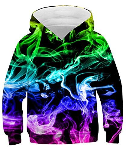 ALISISTER Unisex Hoodie Kinder 3D Lustig Bunt Rauchen Grafik Kapuzenpullover Sweatshirt Jungen Mädchen Beiläufig Langarm Pulli Hoody Pullover mit Taschen M