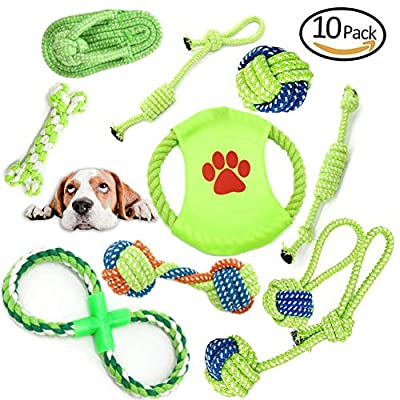 Wsryx Dog Toys, 10 PCS of Puppy Chews Toys Rope Set, Dogs Pet Braided Durable Interactive Cotton Toys Dental Health Teeth Cleaning