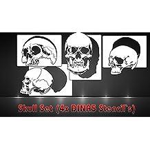 Aerógrafo Plantillas Juego de 4Skull Plantillas DINA5