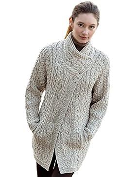 100% irlandés de lana Merino Ladies 3Botón Aran Coat por West End Knitwear