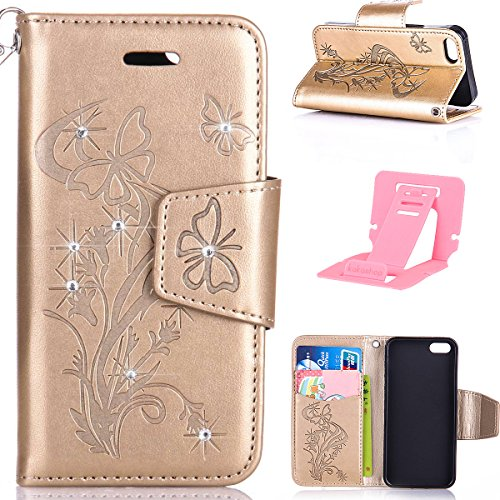 iPhone 6S Hülle,iPhone 6 Hülle,Ekakashop iPhone 6 / 6S PU Leder Wallet Case Schutzhülle Flip Bookstyle Magnative Cover Lederhülle,Soft Painted Rote Löwenzahn Muster Protection Schutz Tasche Silikone B Golden Schmetterling