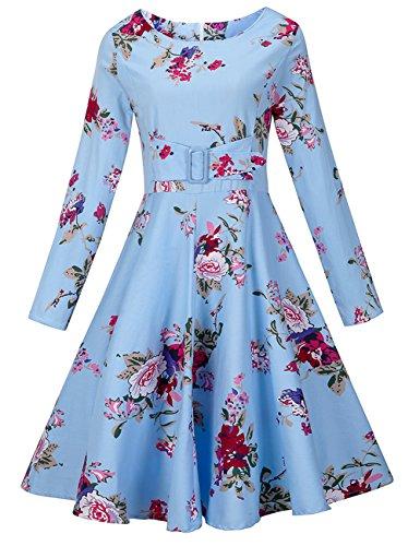iBaste Donne 1950 Vintage Casual Cocktail Vestito Scollo rotondo Party matrimonio Blu