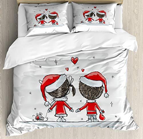 Kostüm Qualitäts Santa - ABAKUHAUS Weihnachten Bettbezug Set Doppelbett, Kinder Santa Kostüme, Kuscheligform Top Qualität 3 Teiligen Bettbezug mit 2 Kissenbezüge, Weiß Rot