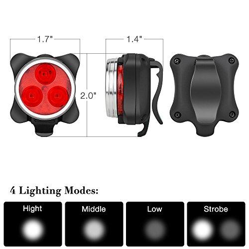 Fahrradlicht LED Set, Furado Fahrradlicht Fahrradbeleuchtung, Wasserdicht LED Fahrradlampenset, USB Wiederaufladbare Frontlicht und Rücklicht mit 4 Licht-Modus & 2 USB Kabel für Fahrrad Radfahren - 4