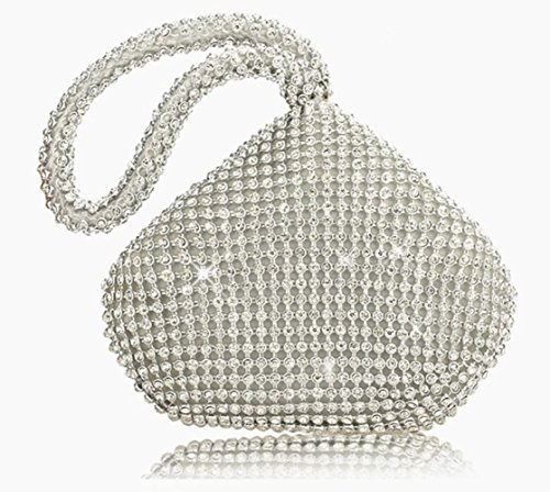 MLL Meine Abendtasche mit Diamant Abendtasche mit Brautkleid Tasche,Silber,A