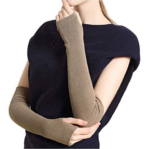(CHIC DIARY Fingerlose Armstulpen Damen Langarm Fäustlinge Lang Handschuhe Warm Stulpen für Winter Herbst (4 Farben bei Auswahl) (Khaki))