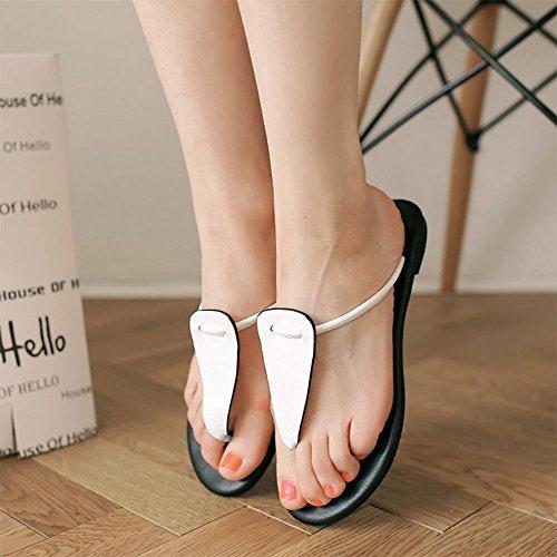 Refroidir dans les chaussures en cuir d'été confortables sandales plates tongs White