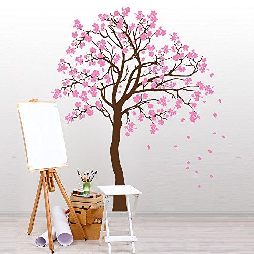 01359 Adesivo murale Wall Art Alberi - Tempo di primavera - Misure 130x170 cm - marrone e rosa - Decorazione parete, adesivi per muro, carta da parati