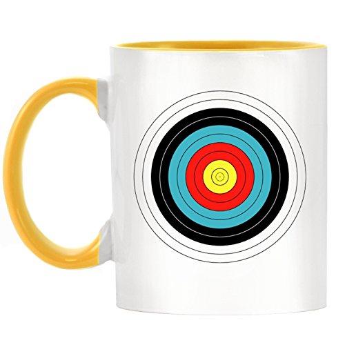 Bogenschießen Ziel Design bicolor Becher mit Henkel Gelb & Innen