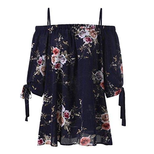 VJGOAL Damen Bluse, Damen Fashion Plus Size Blumendruck Cold Shoulder Bluse Casual Sommer Tops Camis Frau Geschenk (XXXXXL, Marine) -