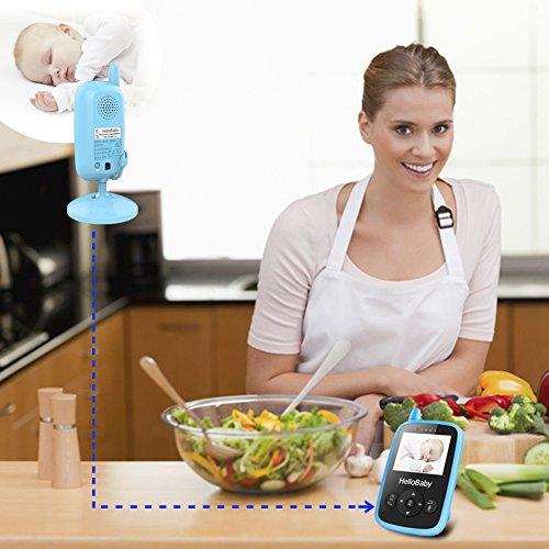 HelloBaby HB24 2.4″ Digital Funk TFT LCD Drahtlos Babyphone Wireless Video Kamera Baby Monitor Babyviewer Überwachung Nachtsicht + Temperatursensor EU Plug(Blau)