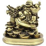 Petrichor Fengshui يضحك بوذا يركب على التنين والحبوب ديكور المنزل والهدايا (12.7 سم)