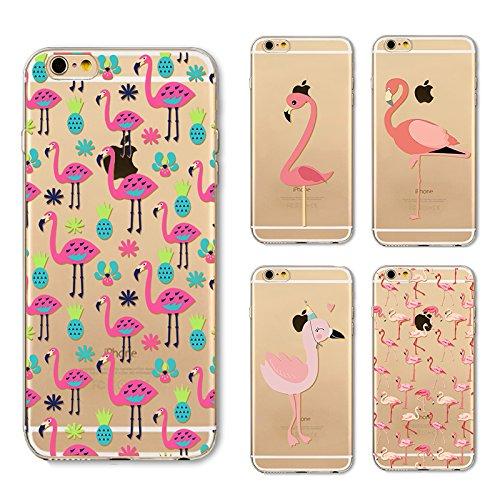 Coque iPhone 6 6s Housse étui-Case Transparent Liquid Crystal en TPU Silicone Clair,Protection Ultra Mince Premium,Coque Prime pour iPhone 6 6s-Flamingo-style 16 12