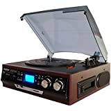 Boytone Bt-17Djm-C 3-Speed Stereo Turntable 2 Built In Speakers Digital Lcd Display Am/Fm USB/Sd/Aux+ Cassette/Mp3 & Wma Playback /Recorder & Headphone Jack + Remote Control