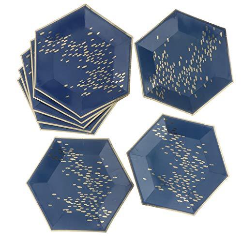 Baoblaze 8 Pièces Plats en Papier Plateaux Papier Assiettes en Papier Assiettes Hexagonal Parfait pour Anniversaire de Enfant Pique-Nique et Excursion - 23cm