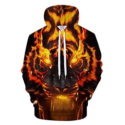 YUVUMVS Feuer Tiger Männer Hoodies Sweatshirts Herren Hoody Anime Trainingsanzug 3D Druck Pullover Streetwear Mantel Hip Hop, S