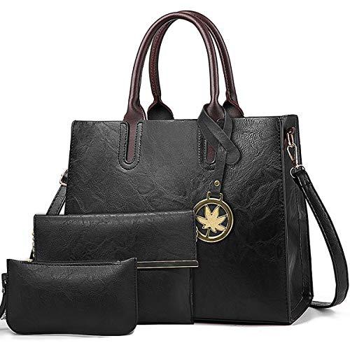 BestoU Damen Handtasche Schwarz Umhängetasche Henkeltasche Groß Damen Tasche gross schultertasche Leder 3pcs(Schwarz)