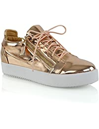 3595d89923f3 ESSEX GLAM Womens Casual Sneakers Flat Lace up Zip Pumps Ladies Comfy  Trainers Shoes Size