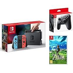 Nintendo Switch Consle 32Gb Blu/Rosso Neon + The Legend Of Zelda: Breath Of The Wild + Pro Controller