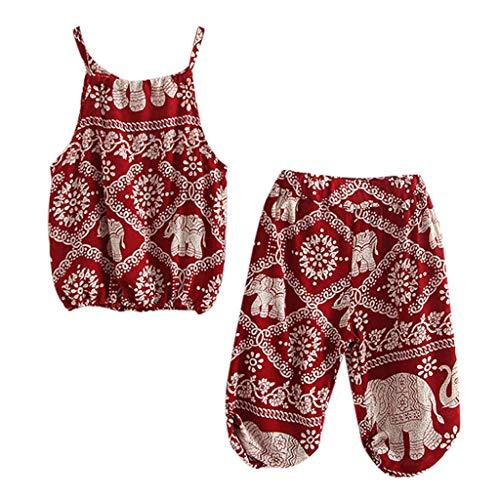 Livoral Kleinkind Baby Mädchen Cartoon Elefant Print Strap Tops Hosen Kleidung Set Outfits(Rot,5-6 Jahre)