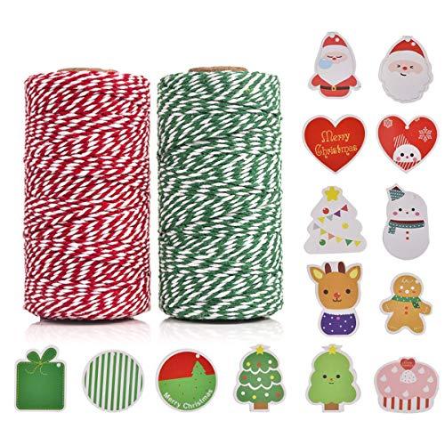 Rote und Grün Bäckerschnur,100% Baumwolle Handwerk Xmas Urlaub Bindfäden, Bäcker Schnur für DIY Handwerk und Geschenkverpackung Bonus mit 14 Stück Weihnachtskarten, 100 m (2 Rolle) by OITUGG -