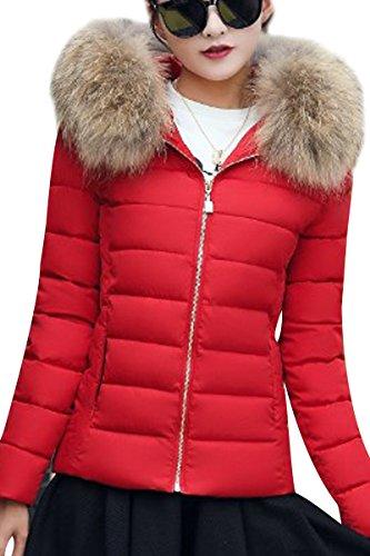 YMING Damen Übergangsjacke Stepp Jacke mit Kunstpelz Kapuze Warm Winterjacke Gefüttert Parka,Rot-C,S