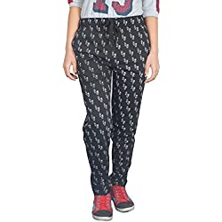 Women Printed track pants( M TO5XL SIZES) – Cupid Printed Black Cotton Sports Gym Workout yoga Lowers for Women And Girls – Night Wear Regular fit ladies relax fit pyjamas-Black Color (Medium)