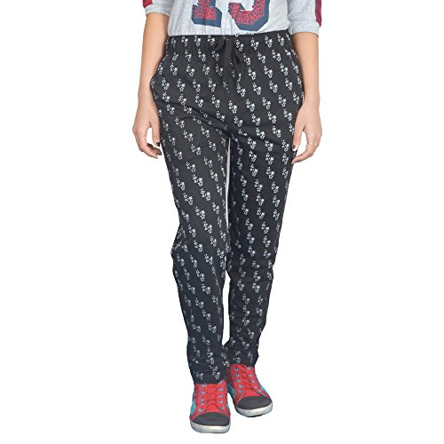 Women Printed track pants( M TO5XL SIZES) – Cupid Printed Black Cotton Sports Gym Workout yoga Lowers for Women And Girls – Night Wear Regular fit ladies relax fit pyjamas-Black Color (Medium)  available at amazon for Rs.350