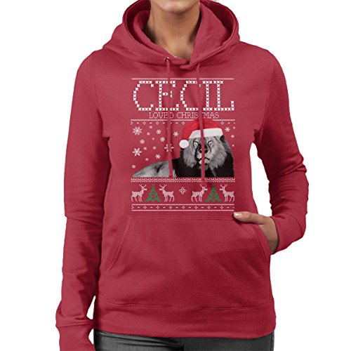 Cecil Loved Christmas Knit Women's Hooded Sweatshirt Cherry Red