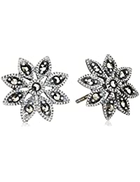 Elements Silver E2053 Ladies Marcasite Daisy Sterling Silver Stud Earrings
