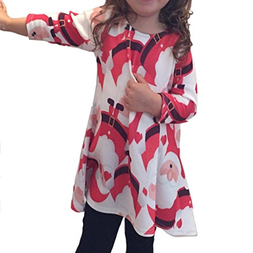 Saingace Mädchen Kleid rot rot 4-5 Jahre Gr. 8 ans, rot (Footed Sleeper Baby Infant)
