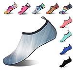 IceUnicorn Water Socks Mens Womens Outdoor Swim Barefoot Skin Shoes for Beach Running Snorkeling Surfing Diving Yoga Exercise(Gradient Gray,38/39EU)