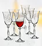 Kristall Bohemia Gläser -- Royal -- 6 er Set-- mit verschieden Ornamenten (Weißweingläser 6 x 250 ml)