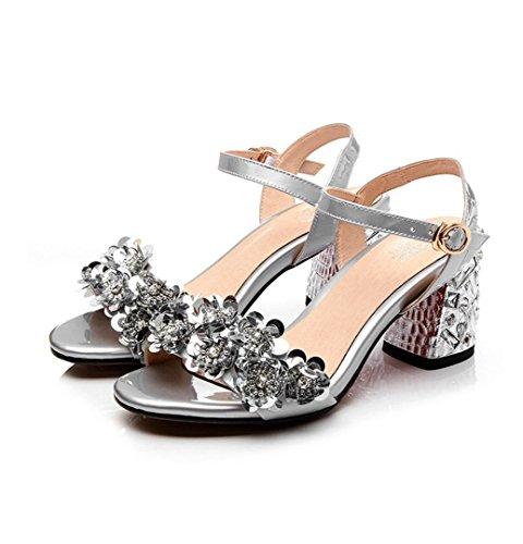 WZG Weibliche Ledersandalen dick mit offenem Zehen Schuhe mit hohen Absätzen Strass Blumen mit dem Wort Mode Schuhe Größe Schuhe Silver