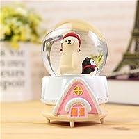 Preisvergleich für Baby-lustiges Spielzeug Netter Eisbär in der Kristallkugel Spieluhr mit schwimmenden Schneeflocken für kleines Geschenk (rosa Basis)