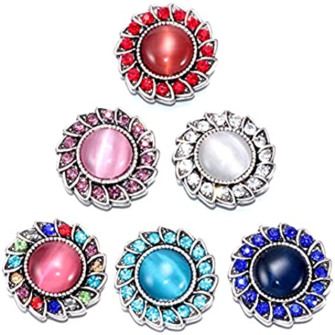 Soleebee 6pcs 18mm Alloy Rhinestone Snap Buttons Jewelry Charms - Colorful Opal by Soleebee