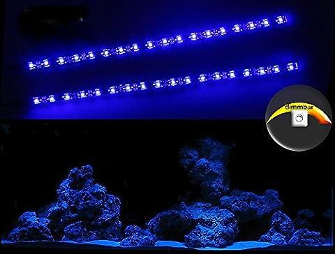 CREATIVE LIGHTS - AQUARIUM MONDLICHT 2 x 30 CM LED LICHTLEISTE + DIMMER KOMPLETTSET INKL. NETZTEIL FLEXI-SLIM