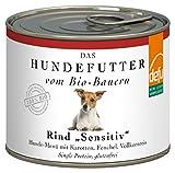 defu Bio Nassfutter für Hunde Rind 200 g Glutenfrei, 12er Pack (12 x 200 g)