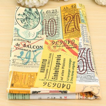 Vintage Map Bills Series Cotton Linen Fabric Cloth Patchwork For DIY Table...
