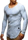 LEIF NELSON Herren Pullover Longsleeve Hoodie Basic Sweatshirt Hoodie Hoody Sweater LN6358; Größe S, Blau