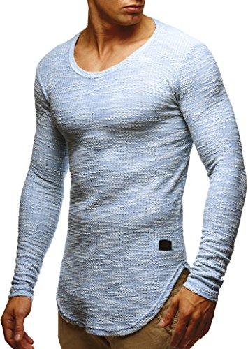 LEIF NELSON Herren Pullover Rundhals-Ausschnitt | Schwarzer Männer Longsleeve | dünner Pulli Sweatshirt Langarmshirt Crew Neck | Jungen Hoodie T-Shirt Langarm Oversize | LN6358 Blau ()