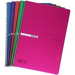 Enri 400043836 - Pack de 5 cuadernos de rayas con espiral simple, Pauta 3, tapa de plástico, colores surtidos