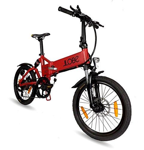 LLobe Erwachsene 20 Zoll Alu Falt E-bike City II, Mattrot, 50.8 cm, 130748