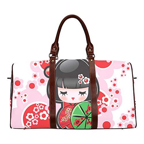 Reise-Seesack Nette Karikatur-Geisha mit Japan-Reise-wasserdichter Weekender-Tasche Über Nacht Carryon-Handtasche Frauen-Damen-Einkaufstasche mit Mikrofaser-Leder-Gepäck-Tasche